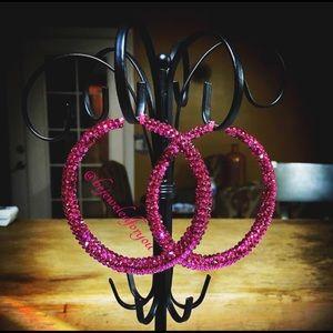 Jewelry - Custom handmade Swarovski Crystal Fuchsia Hoops
